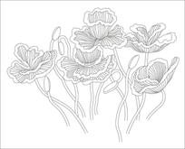 简约鲜花玻璃雕刻图案
