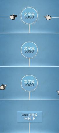 卡通手指运到标志文字广告模板