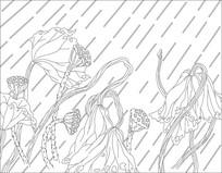 莲花玻璃雕刻图案