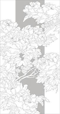 牡丹花雕刻图案