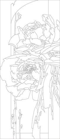 牡丹现代雕刻图案