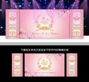 欧式粉色系婚礼背景板设计