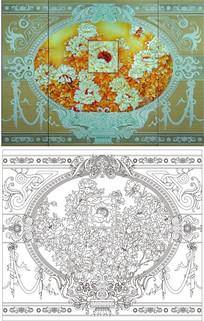 欧式奢华花纹玻璃雕刻图案