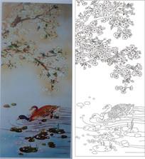 桃花鸳鸯玻璃雕刻图案