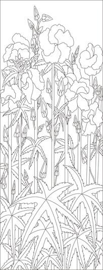 植物叶子玻璃雕刻图案