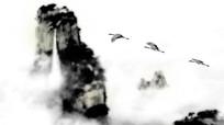 中国风仙鹤水墨动画视频