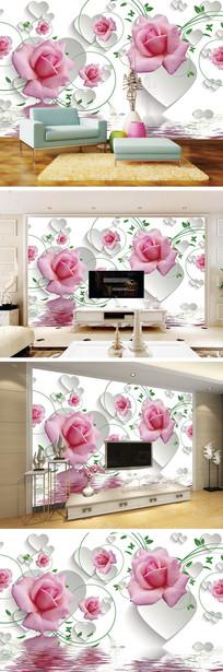3D立体爱心玫瑰背景墙 TIF