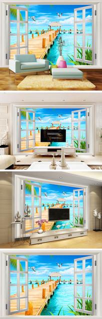 3D立体窗户海景木桥背景墙
