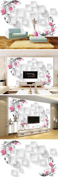 3D立体方框玫瑰花藤背景墙 TIF