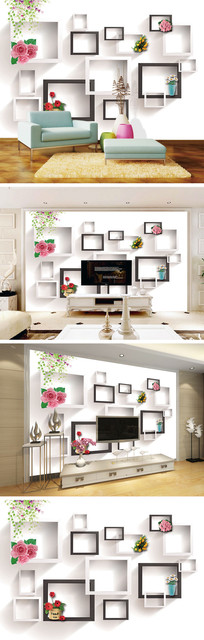 3D立体方框盆栽背景墙 TIF