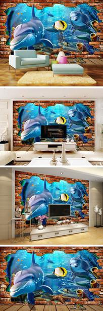 3D立体海底世界海豚背景墙 TIF