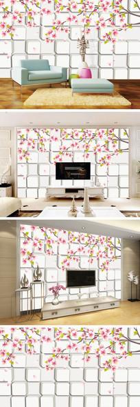 3D立体桃花花瓣背景墙