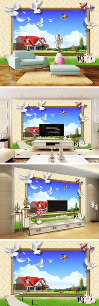 3D立体相框风景鸽子背景墙