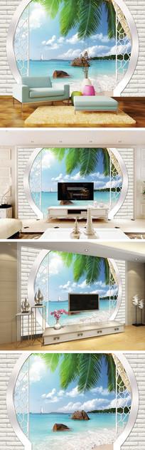 3D立体砖墙海景椰树背景墙