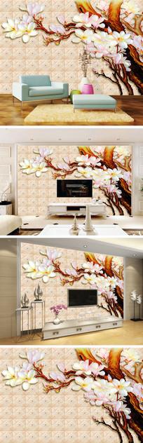 彩雕玉兰花瓷砖石纹背景墙