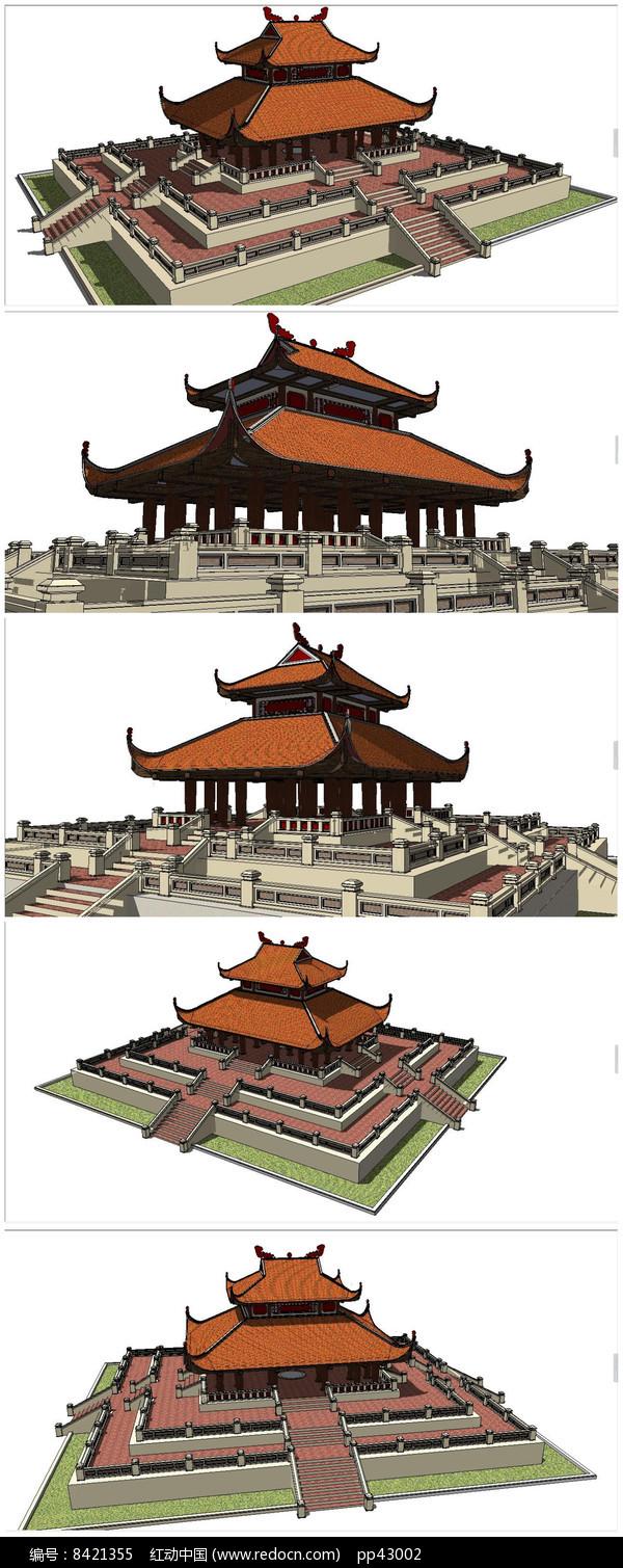 东南亚风格古建筑模型大殿图片