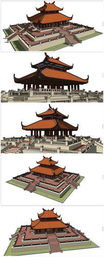 东南亚风格古建筑模型大殿
