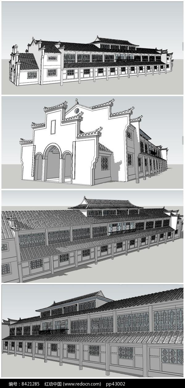 二层中式民居茶馆SU模型图片