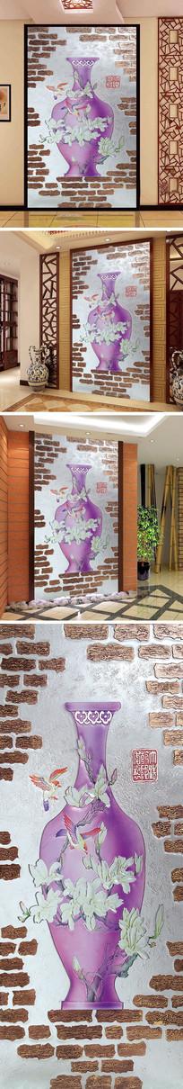 浮雕花鸟花瓶玄关背景墙