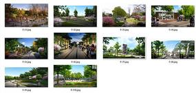 公园景观节点透视效果图