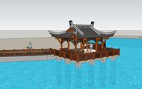 公园中式廊架水榭模型