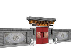 古代中式建筑大门 skp