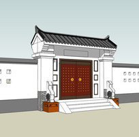 古代住宅府邸大门模型