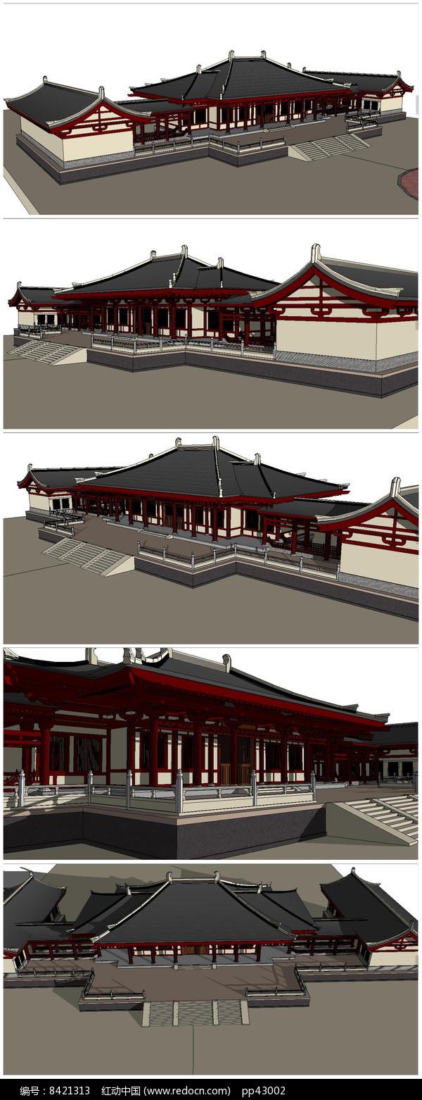 汉代宫阙建筑SU模型图片