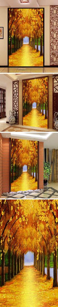 黄金大道金币玄关背景墙