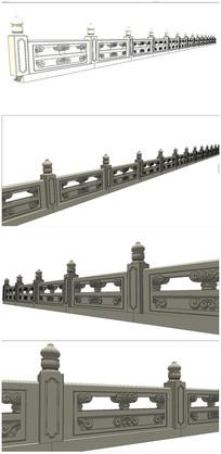 护城河栏杆SU模型