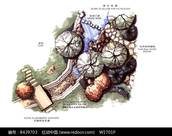 景观节点植物配置平面图