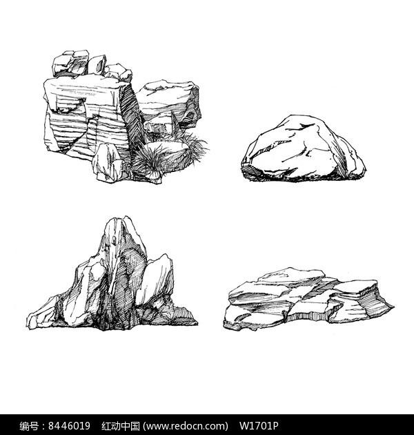 景观石头手绘线稿