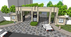 欧式风格住宅入口su模型
