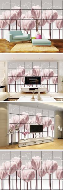 郁金香瓷砖背景墙