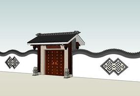 中式大门曲线围墙SU模型 skp