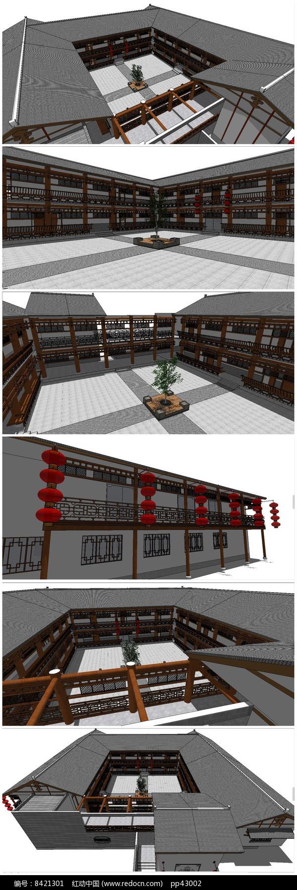 中式古典建筑客栈SU模型图片