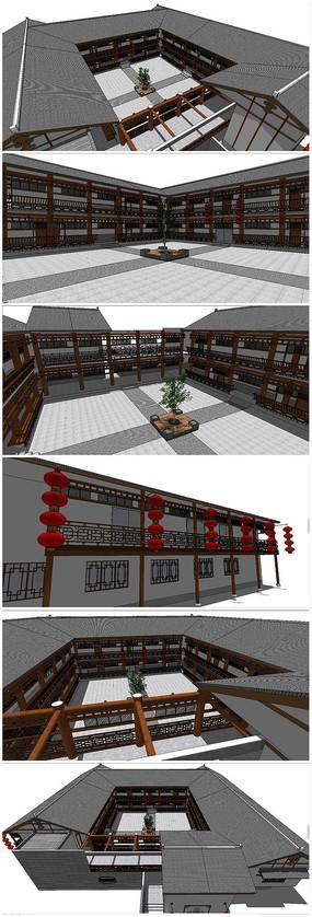 中式古典建筑客栈SU模型