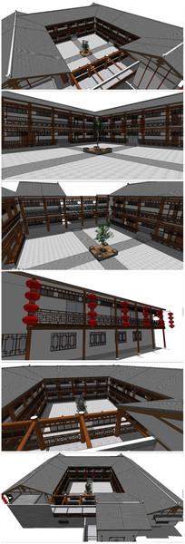 中式古典建筑客栈SU模型 skp