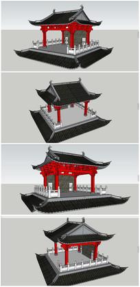 中式古典建筑戏台SU模型