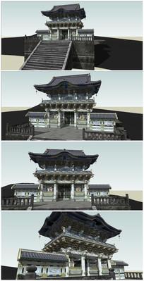 中式古建SU模型 skp