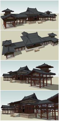 中式古建筑亭廊架SU模型