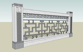 中式花纹栏杆围墙模型图片