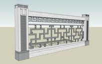 中式花纹栏杆围墙模型