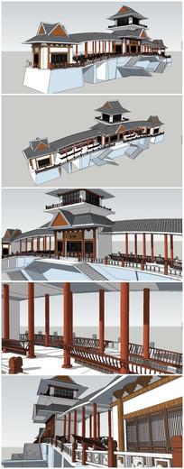 中式建筑廊桥SU模型