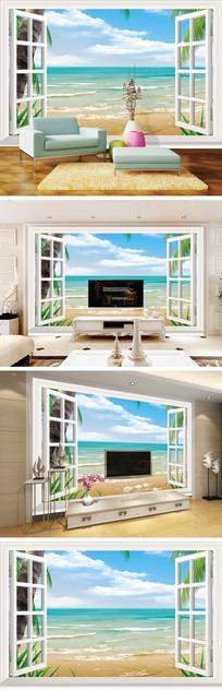3D立体窗户海景椰树背景墙 PSD