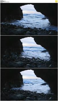 大海石洞实拍视频素材