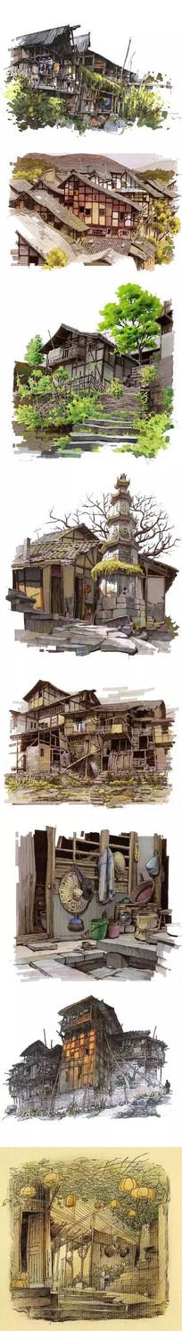 古村落建筑马克笔手绘 JPG