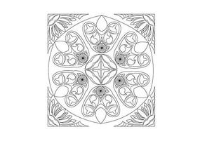 荷花元素边角雕刻纹样