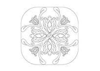 花朵拼接圆角矩形雕刻纹样 AI