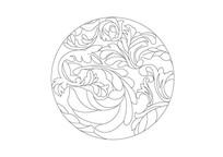 欧式古典叶子元素圆形雕刻纹样